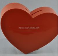heart-shaped acrylic donation box with lock