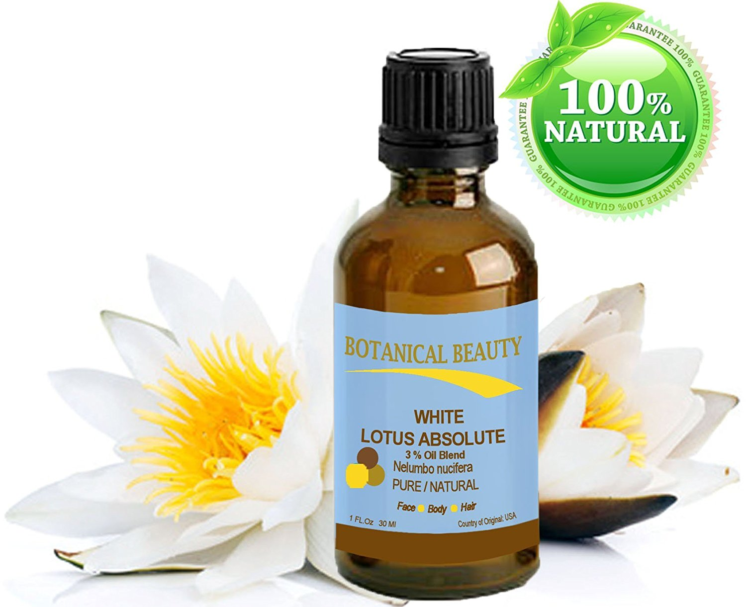 "WHITE LOTUS ABSOLUTE Pure / Natural 3% Oil Blend. 1 fl oz - 30ml. ""One of the best anti aging oils to regenerate and restore skin strength. The White Lotus flower is a symbol of awakening and the Goddess of Wealth""."