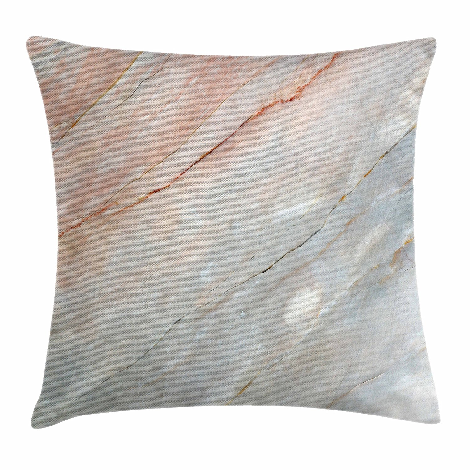 Ambesonne Marble Throw Pillow Cushion Cover, Onyx Stone Textured Natural Featured Authentic Scratches Artful Illustration, Decorative Square Accent Pillow Case, 28 X 28 Inches, Peach Pale Grey