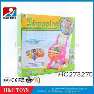 Mini supermarket shopping cart toy funny kids pink shopping cart trolley HC273275