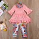 HYS23 Kid Baby Girl Plaid Long Sleeve Tops Shirt Pants Leggings Headband Outfit Clothes 3pcs fall boutique clothing