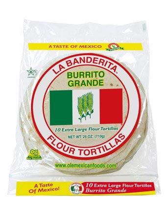 """LA BANDERITA FLOUR TORTILLAS 10 CT 10"""" GRANDE MEXICAN FOOD"""