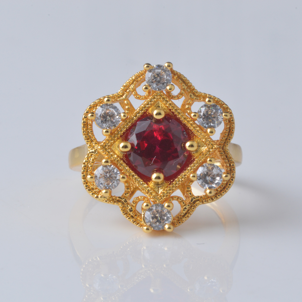 Vintage Style Cubic Zirconia Victorian style ring Jewelry 18K gold /Rhodium Plated floral engagement ring