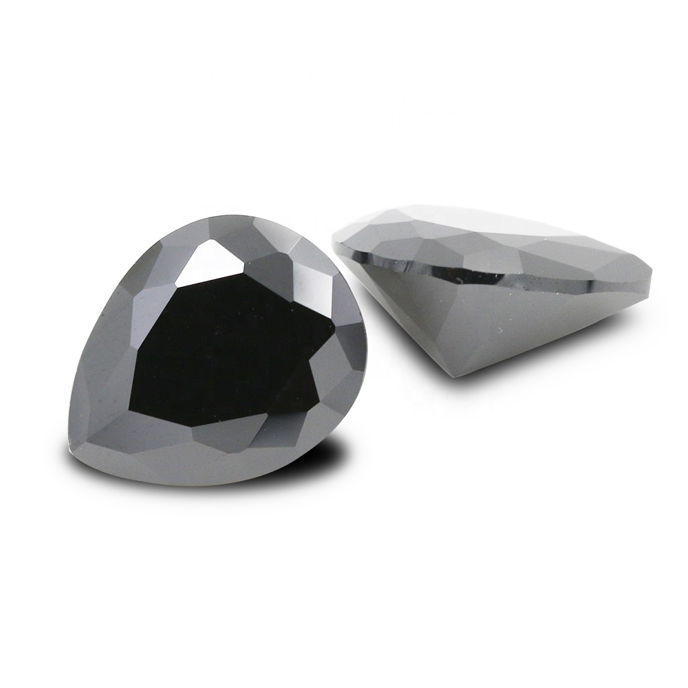 Loose CZ Gemstone <strong>Pear</strong> Cut Black Cubic <strong>Zirconia</strong>