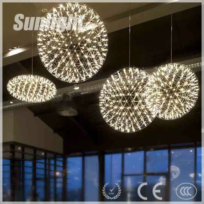 spherical multi led bulbs fireworks metal Loft retro ball shade Chandeliers industrial pendant lamp/light/linghting