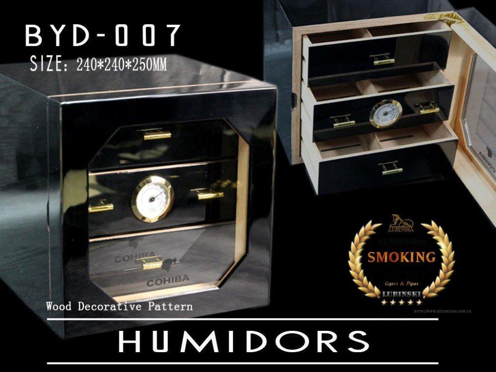 Cohiba Black Humidor Cedar BOX,Piano Finish Case,Cedar Wood Paint Cigar Cabinet