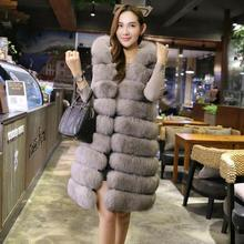 Sleeveless women fur vests women mink fox fur coat thicken grey hooded ladies winter coats fur vest
