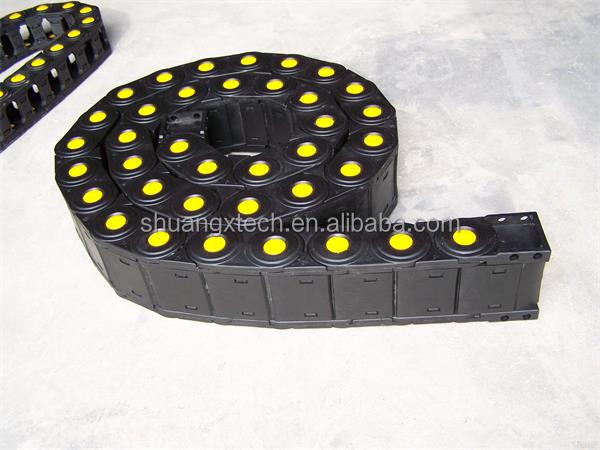 P lastic Openable type with yellow dot protective cable drag chain /cable wires carrier