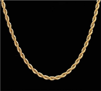 18k Real Gold Plated Rope Chain 2.5-5MM Stainless Steel Mens Chain Necklace WomeN 16-36 inches
