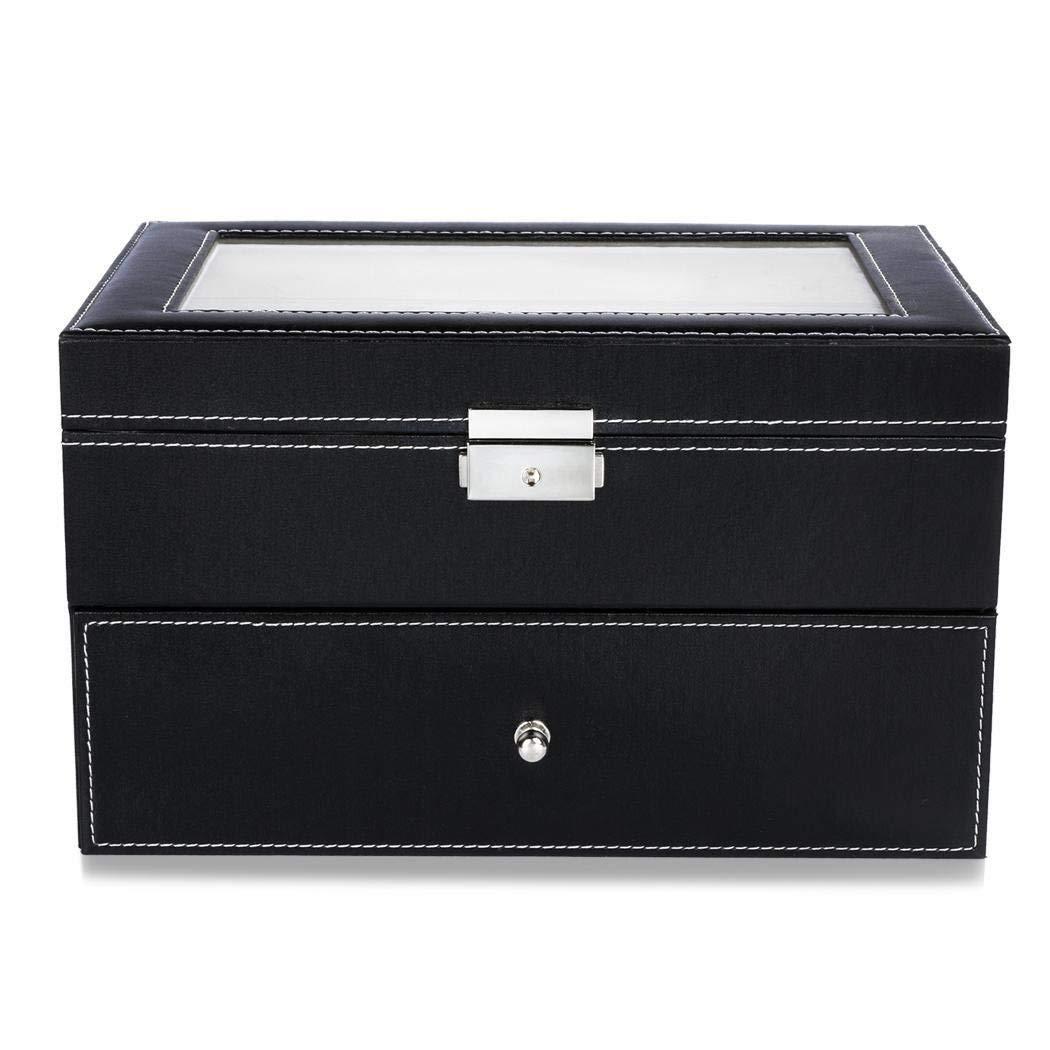 Oguine storage organizer box black leather jewelry box watch organizer storage case black leather 20 watch box case organizer display storage Cabinets & Cases