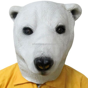White color trade assurance customized design animal bear full head mask