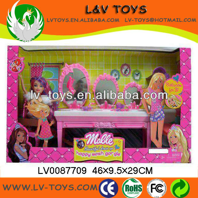 2013 Fashion newest plastic toilet table set&pretty girl doll for children/kids play with EN71 LV0087709