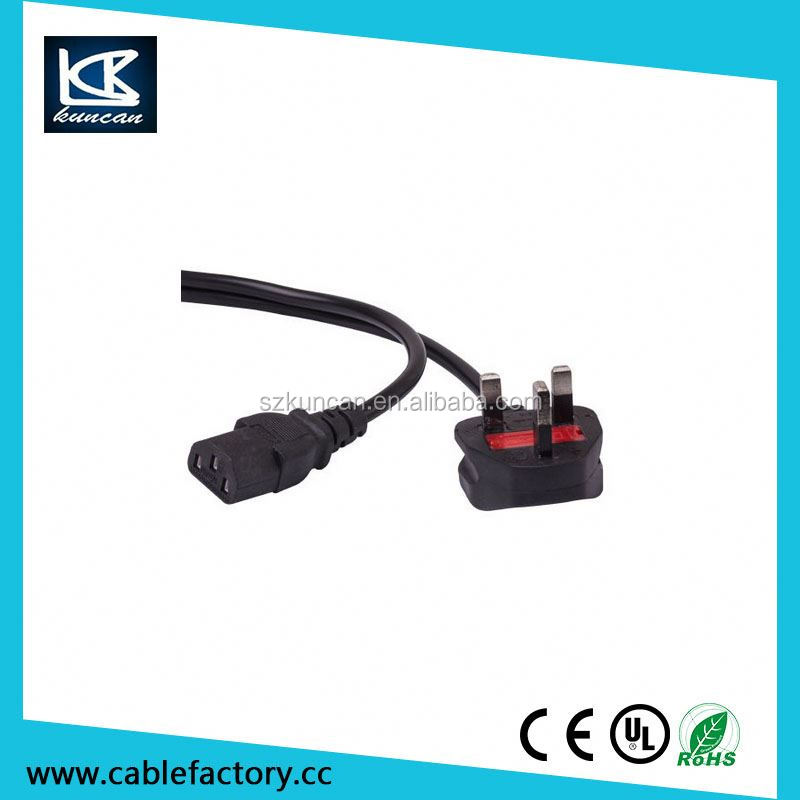 2 pin plug BS standard UK extension cord with iec 60320 c5 female connector