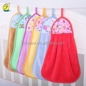 China supplier new design soft kitchen microfiber hand towel with tie
