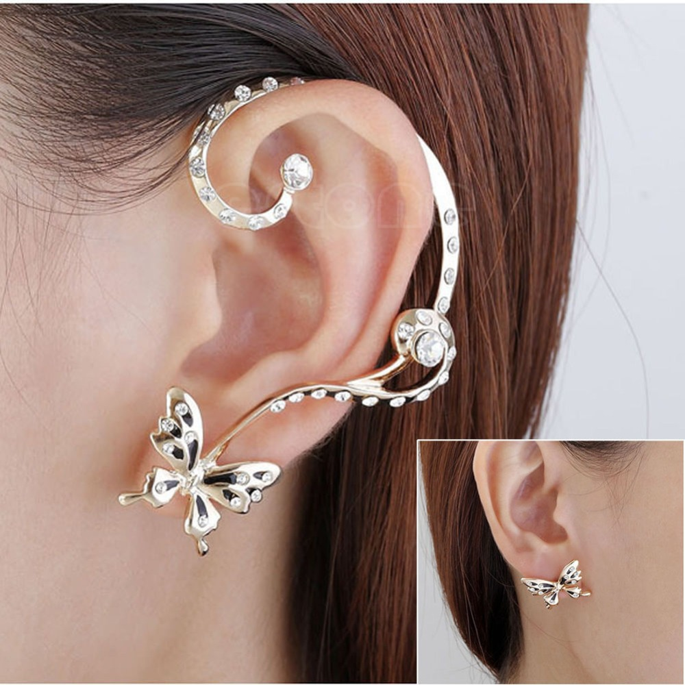 J117 Free Shipping 1 Pair Modish Nice Women Erfly Ear Cuff Clip Stud Crystal Rhinestone Earring Plus Size Clothing For Everybody