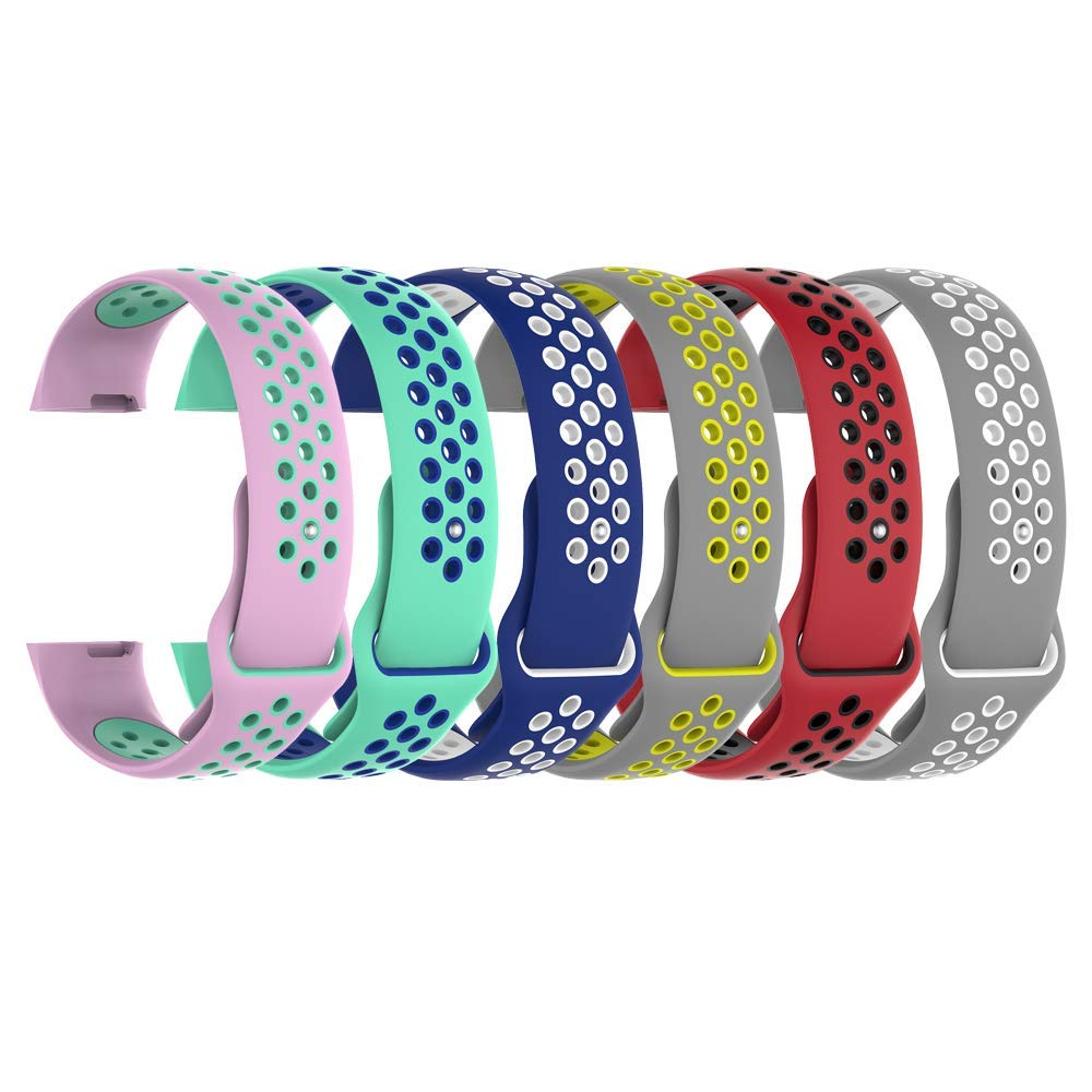 HWHMH Colorful Replacement Silicone Bands Compatible Pin Removal Tools Fitbit Charge 3 (No Tracker, Replacement Bands Only)