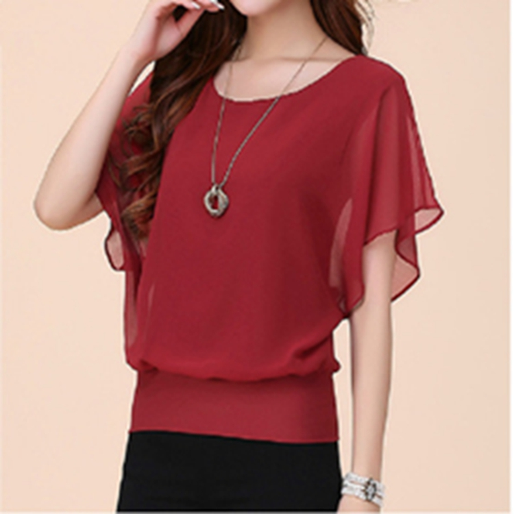New Women Tops Fashion Women Summer Chiffon Blouse Plus Size Ruffle Batwing Short Sleeve Casual Shirt