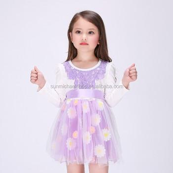 27c4a5332 Púrpura Flor de marfil niña vestidos bonitos vestidos florales para niñas  cumpleaños patrones bebé en línea