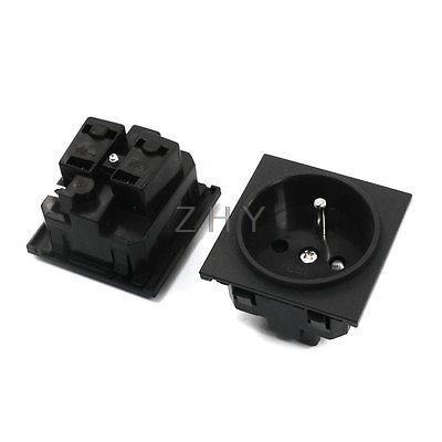 2pcs ac 250v french type schuko european socket adapter. Black Bedroom Furniture Sets. Home Design Ideas