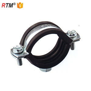 L17 3 8 3 M8 rubber lined pipe clamp galvanized rubber steel pipe clamp M8 pipe clamp with rubber