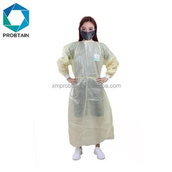 287e7f0406e4b Özel Ucuz Sarı Su Geçirmez Tek Kullanımlık Ppe Hemşire Elbisesi ...