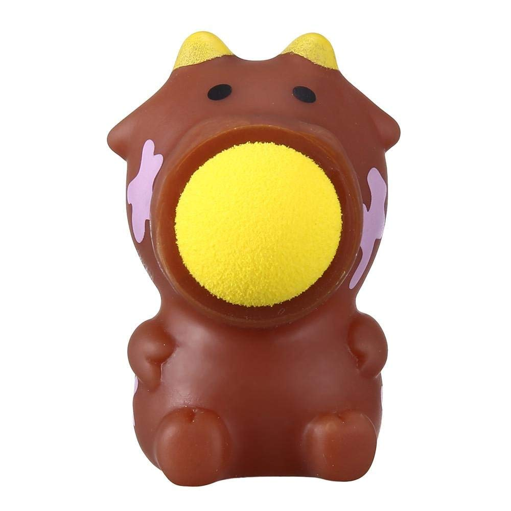 Weite 6 Cute Animals Popper Toys Creative Launching Belly Squeeze Stress Relief Toys for Men Women Kids (A)