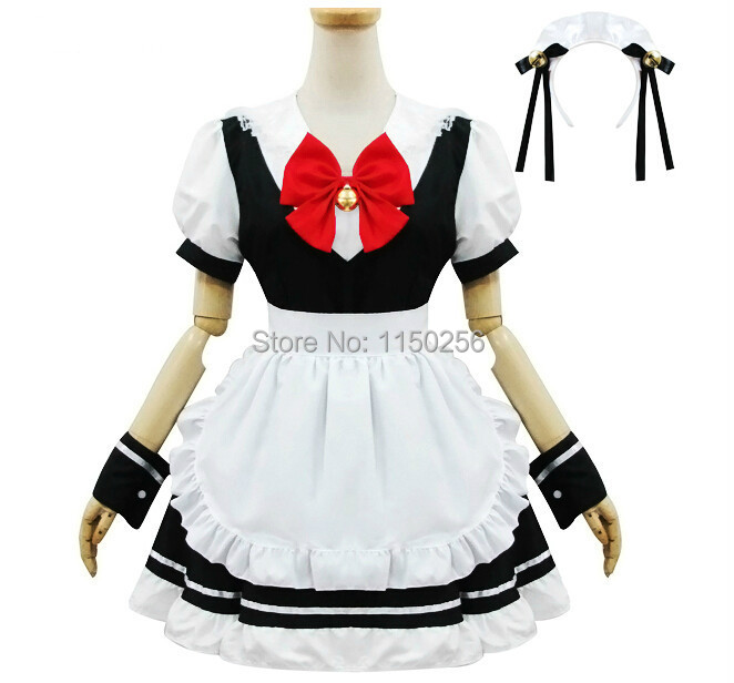 ec9a0ca7fe7 Get Quotations · Free Shipping Japanese Anime Red Bow Bell White And Black Maid  Dress Uniform Theme Restaurant Cosplay
