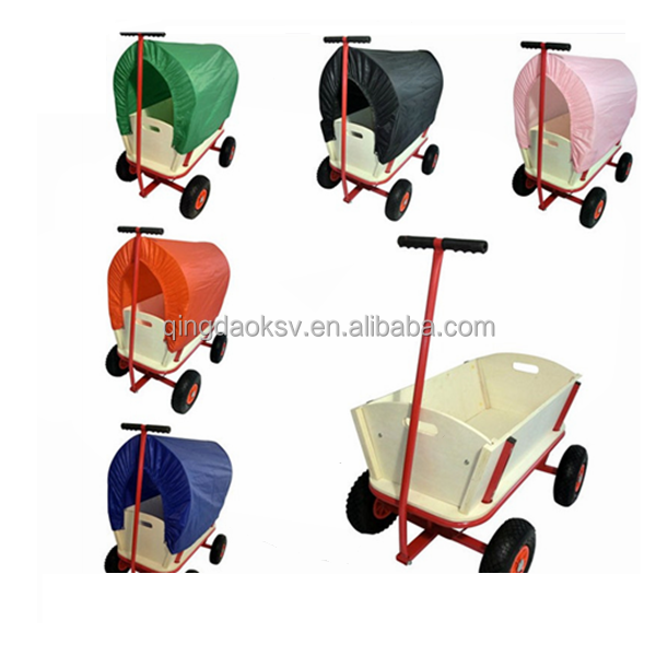 TC1812 Wooden Garden Cart with Four Wheels for Children
