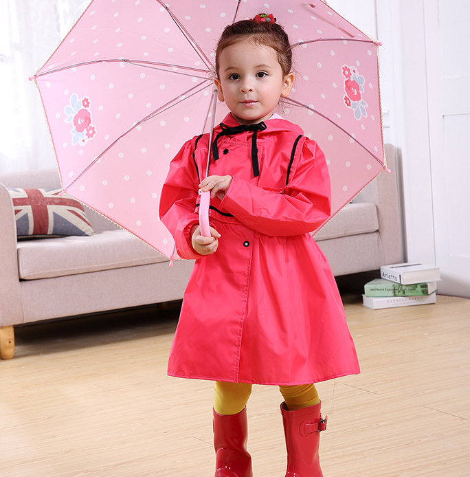 2017 Fashion Brand Cute Princess Dress Kids Raincoat Rain Wear Child Girl's Polyester Yellow Red Rain Poncho
