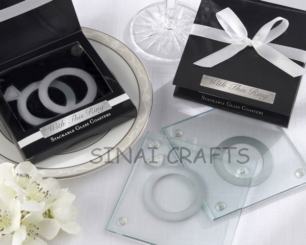 2014 New Wedding Favors Personalized Glass Coaster