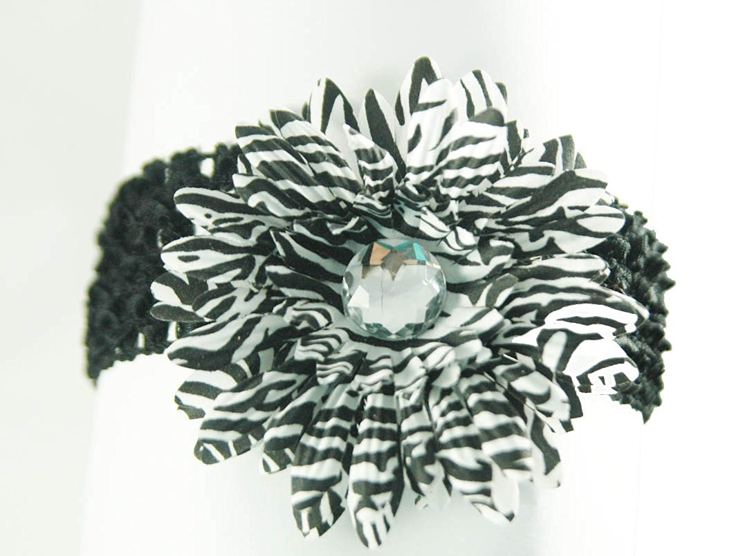 3-in-1 Gerber Daisy Flower Hair Clip Bow on Soft Stretch Crochet Child Headband fits Babies to Toddlers to Youth Girls, Zebra Animal Prints (Black White Zebra on Black) by Ashlyn Rose