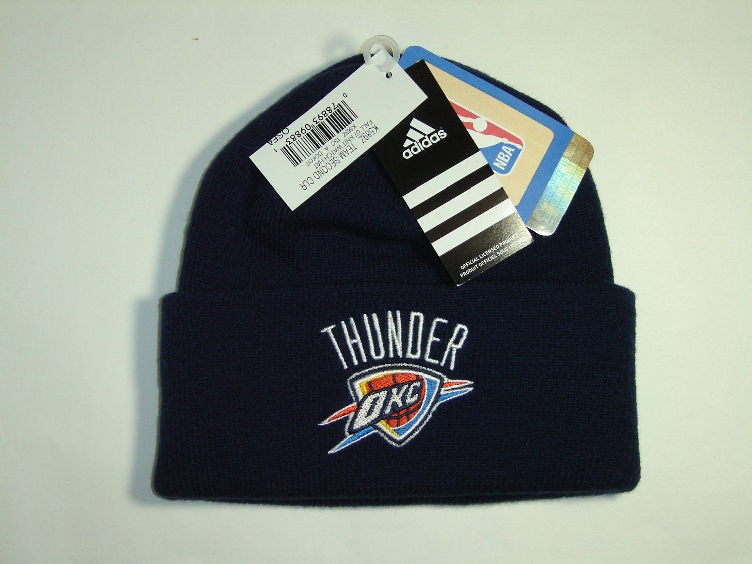 f006c597604 Authentic NBA OKC Oklahoma City Thunder Team Logo Cuffed Knit Beanie Hat Cap