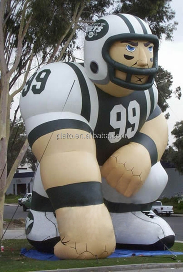 Movable giant inflatable football player/advertising sport member with logo printed for exhibition /display