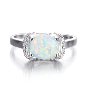 Muslim engagement 925 silver cz ladies opal stone rings