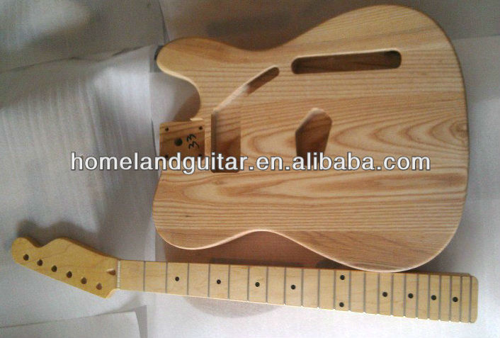 Alta Qualidade Ashtree Guitarra Body e Maple Neck Set para TL Guitar Unfinished Kits