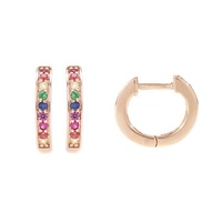 Classic 925 sterling silver rainbow huggie small gold hoop earrings designs for girls