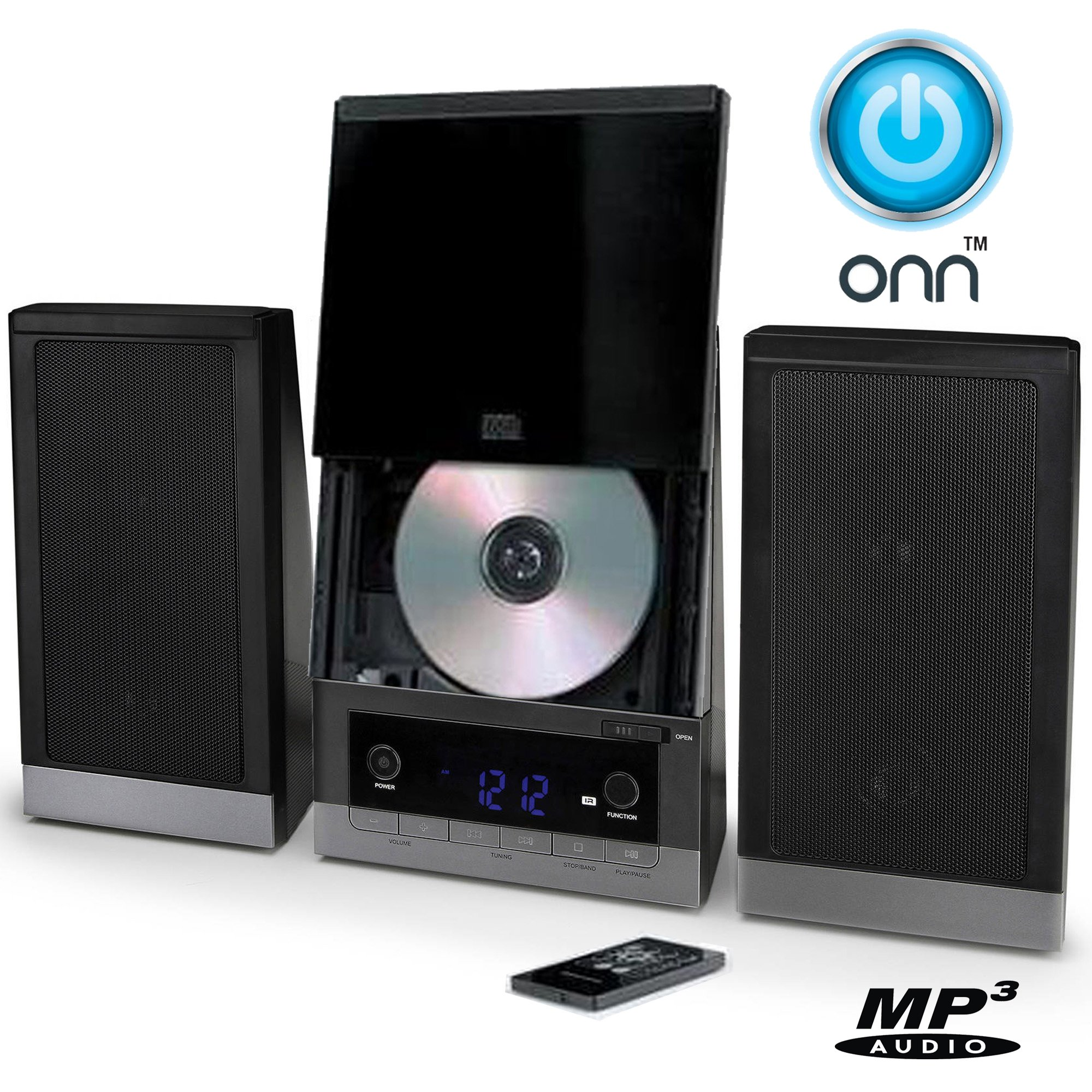 ONN Audio Compact Home CD Music Shelf System Vertical-loading with Stereo Dynamic Speakers & Digital AM/FM Radio LCD Display & Aux Line in ONB-203 (Refurbished)
