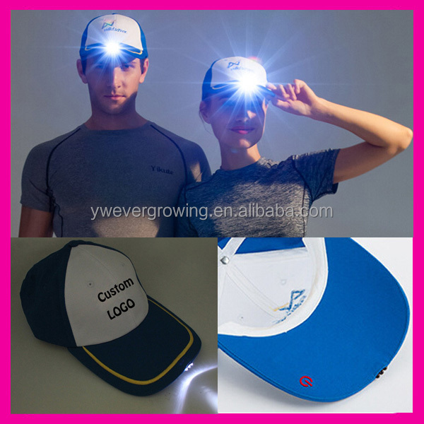 Alibaba China Factory Super Bright LED Cap Glow in dark for Reading Fishing Jogging Custom LED cap with Embroidery LOGO