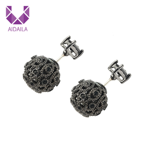 AIDAILA Exquisite Jewelry Women CZ Black Zirconia Ball Double Side Diamond Stud Earrings