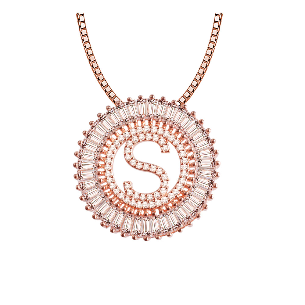 <strong>Fashion</strong> Rose Gold Brass Micro Pave CZ Letter Charm Round Pendant Necklace