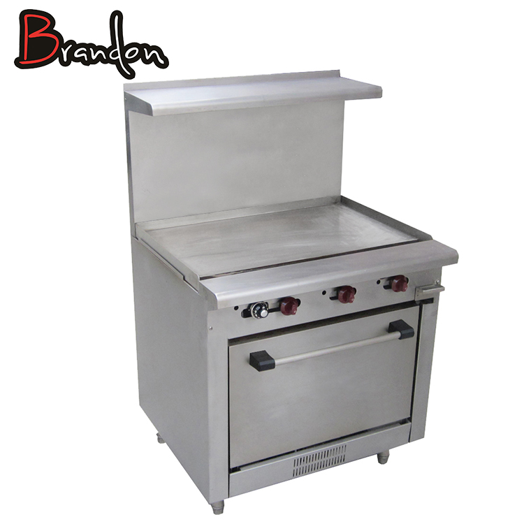Kitchen Equipments Range Cooking Stainless Steel Commercial Gas Griddle With Oven