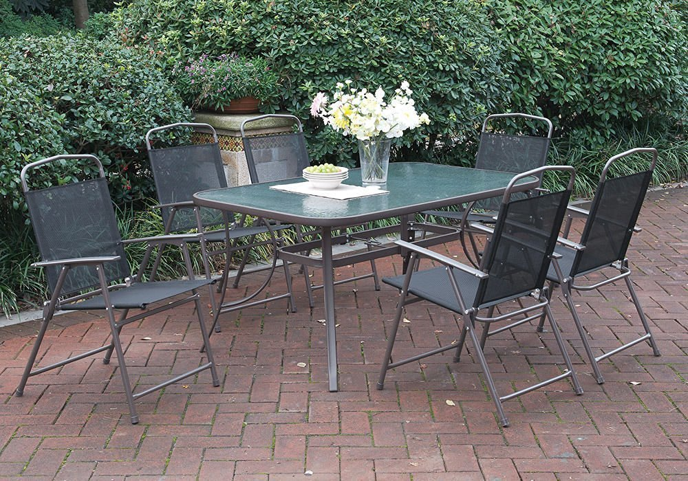 7 Pcs Patio Outdoor Garden Yard Dining Set Glass Table Sythetic Fabric  Foldable Chairs