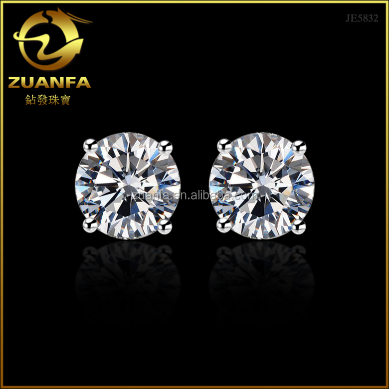 wholesale factory direct sell 925 sterling silver 8mm zirconia stone silver cz earrings
