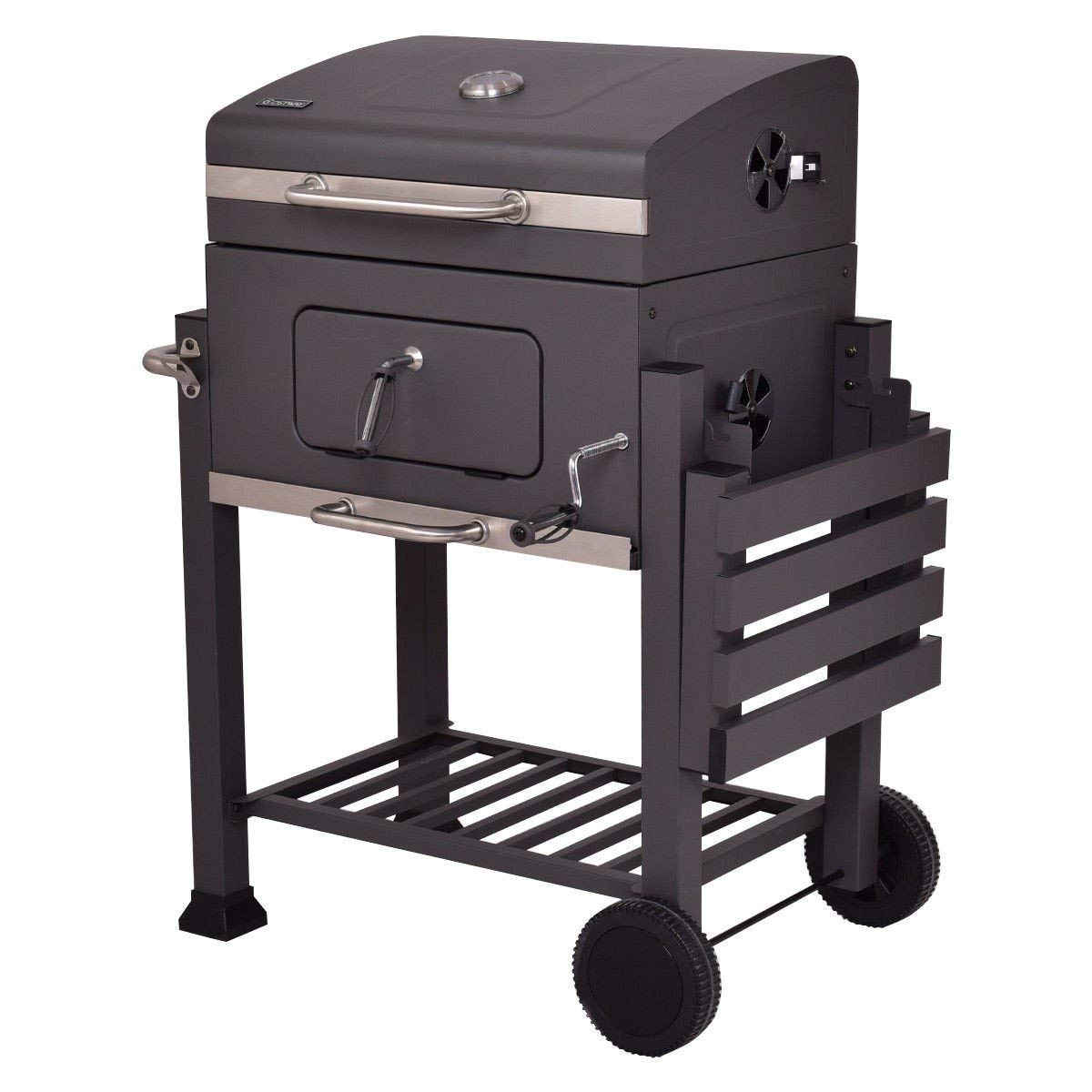 BeUniqueToday Charcoal Grill Outdoor Patio Barbecue BBQ Grill, Black Charcoal Grill Outdoor Patio Barbecue BBQ Grill with 4 Tool Hooks, Foldable Side Shelf Charcoal Grill Outdoor Patio Barbecue Grill