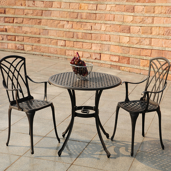 Lot W Outdoor Aluminum Garden Table Chair Bamboo Patio Furniture