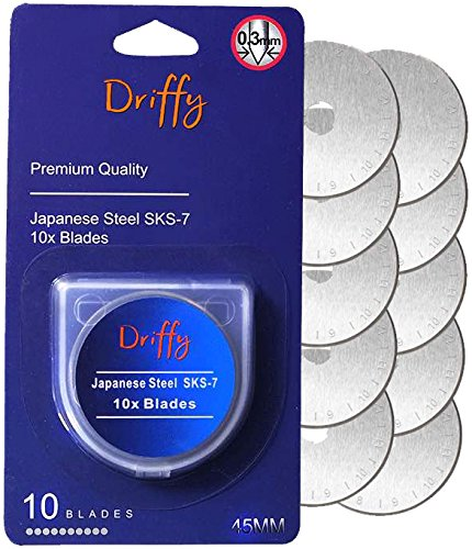 Driffy Rotary Cutter Blades 45mm 10-PACK Compatible with, Fiskars, Olfa Blades, Truecut, Clover and Dafa. Suits a Cutting Mat. Quilting Accessories and Craft Supplies.