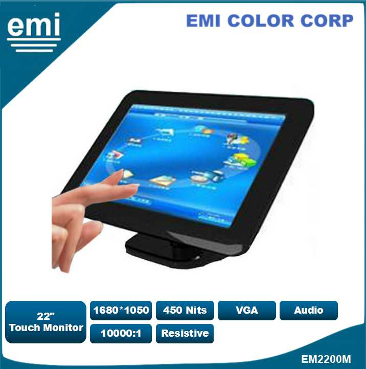 22 inch LCD Resistive Touch Screen Monitor in in the POS, VOD system and the place which needs touch screen function