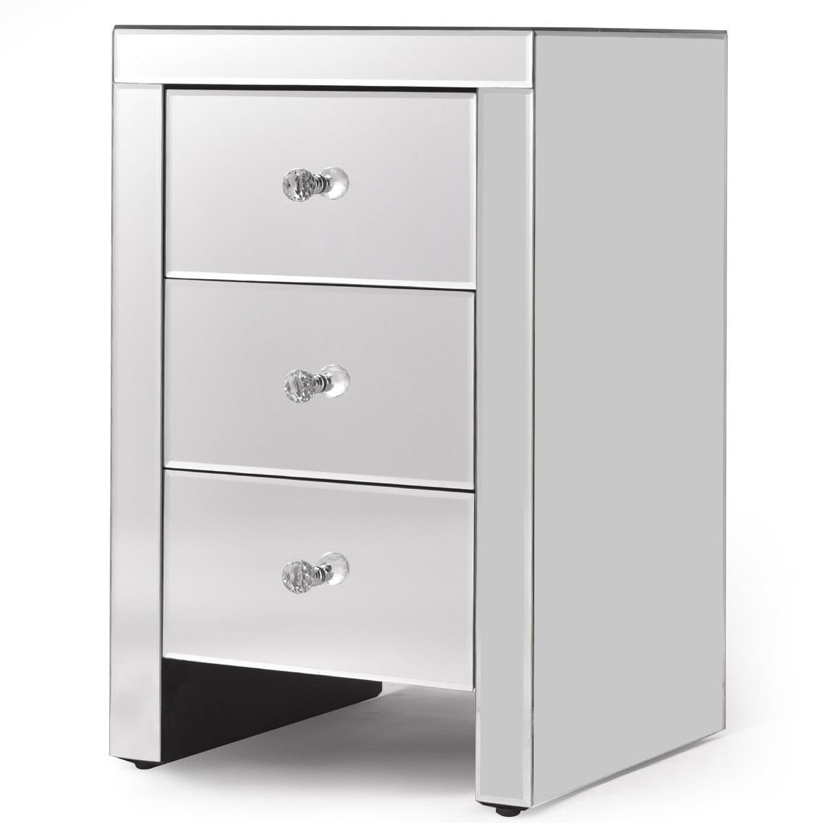 Get Quotations · Nightstand Mirrored Accent Table 3 Drawers Chest Dresser  Storage Silver Glass