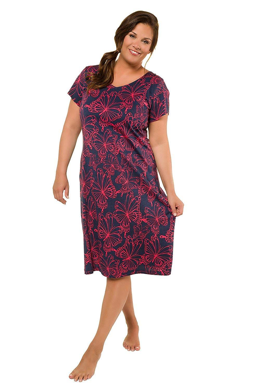 Get Quotations · Ulla Popken Women s Plus Size Butterfly Print Knit Lounge  Dress 715731 79942bdb0