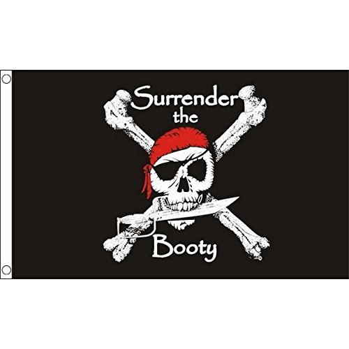 PIRATE SURRENDER THE BOOTY FLAG 3' x 5' - PIRATES FLAGS 90 x 150 cm - BANNER 3x5 ft - AZ FLAG